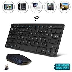 Black Wireless Mini Ultra Slim Keyboard and Mouse For Easy S