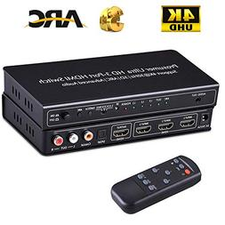 HDMI Switch Audio Extractor 4K Auto Switcher with ARC Remote