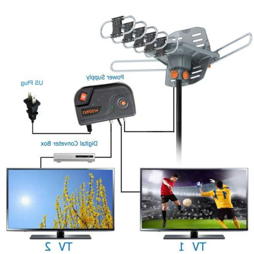 1080P 4K HDTV Outdoor Antenna Remote 360°UHF VHF