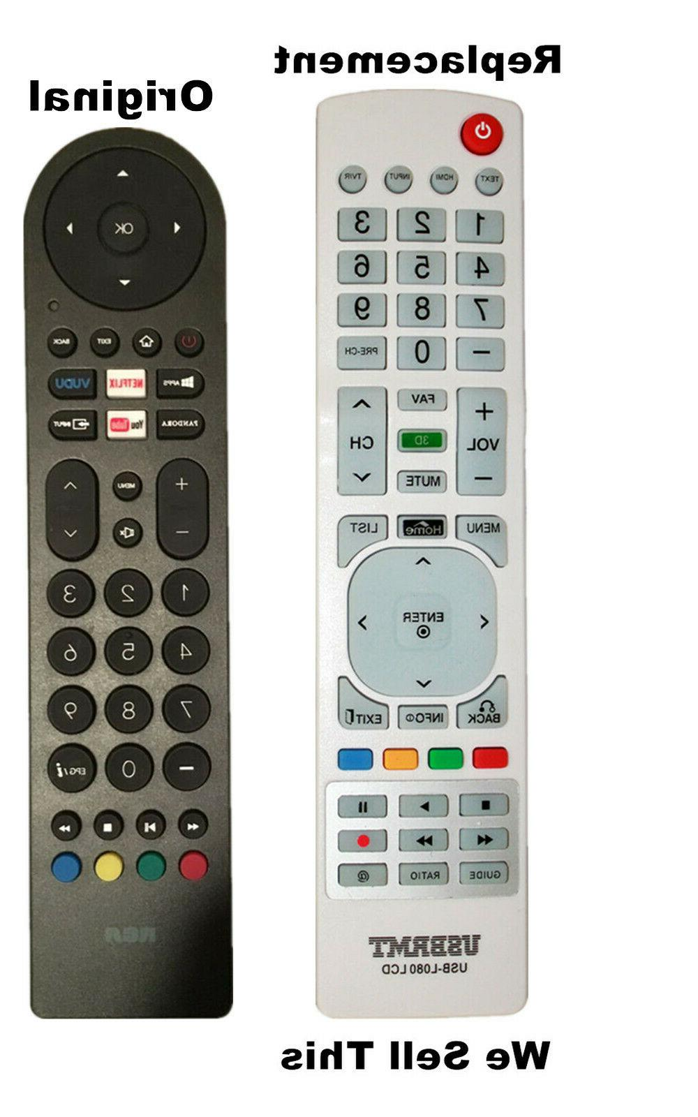 New USB Universal Remote for RCA Smart TV Black Remote - Alr