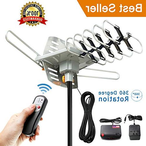 Vansky Outdoor Motorized Rotation OTA Amplified Antenna for TVs Support - UHF/VHF/1080P Channels Wireless Control
