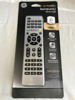 NEW GE 4-Device Universal TV Remote Control - Brushed Nickel