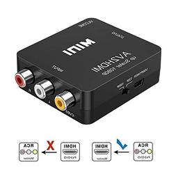 RCA to HDMI, AV to HDMI, Vilcome 1080P Mini RCA Composite CV