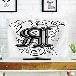 iPrint LCD TV Cover Multi Style,Letter R,Baroque Antique R T